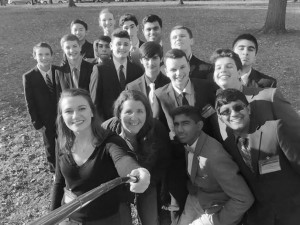 The Model Congress team poses at Yale with their coach Ms. Boland.