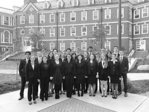 This year's team members stand in front of the CCSU Social Sciences building where the competition took place.