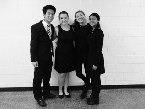 Pictured (left to right): Benjamin Vu, Lauren Knapp, Jennifer Hance and Bhavya Bhushan pose for a photo during the THS annual String Fling. Photo courtesy of Bhavya Bhushan.