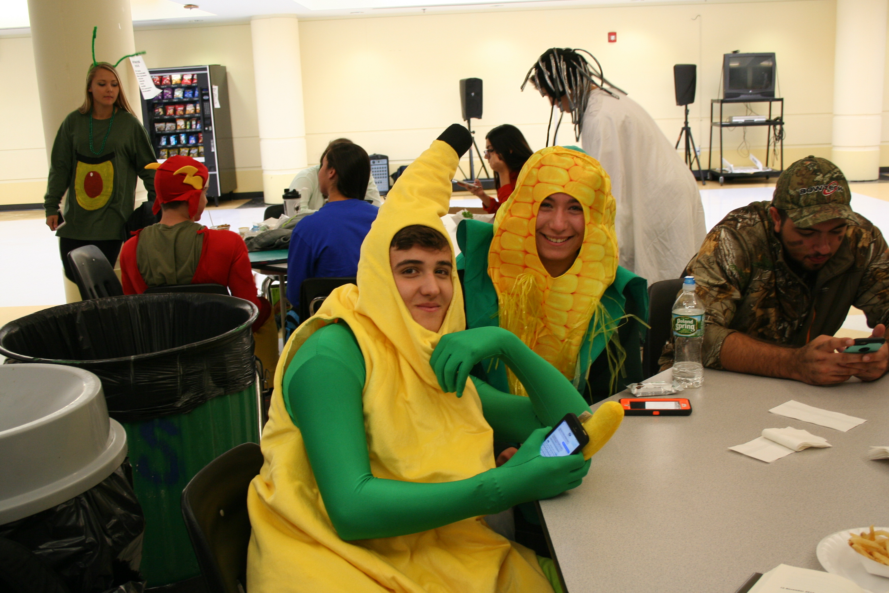 Seniors Christos Koutsitzis and Ally Schneider have a healthy take on SAS in fruit and vegetable costumes.